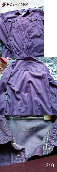 COMFORT IS ALL WE NEED! CORDUROY WITH TWO POCKETS IN FRONT BRINGS CHARACTER TO THIS PIECE. BEAUTIFUL LAVENDER PURPLE COLOR WITH CUTE BUTTONS. GIVES IT THAT GIRLY FEEL.  CONDITION IS GREAT! NO TRADES THANKS ! BUNDLE AND SAVE! OPEN TO REASONABLE OFFERS! TRY ME! THANKS FOR CHECKING OUT MY CLOSET_ twenty x Tops Button Down Shirts