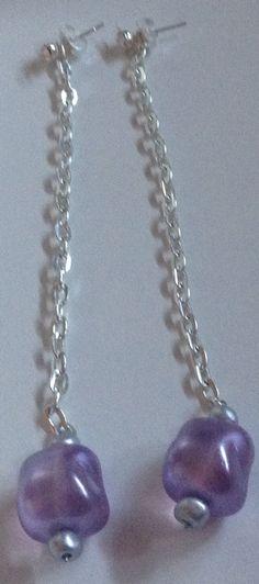 orecchini pendenti silver e viola by AVA