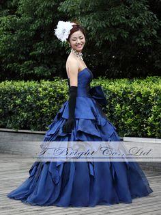カラードレス ネイビー 結婚式ドレス プリンセスライン サイズオーダー 送料無料 hp52445 の通販 | カラメル