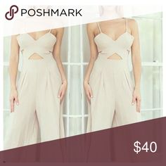Jumper Run a little small 97% polyester and 3% spandex. Pic look off white but the jumpsuits it's white latiste Pants Jumpsuits & Rompers