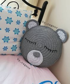 Knitting Cushion Making For Child Room – Knitting And We Crochet Baby Poncho, Baby Girl Crochet, Crochet Bear, Crochet Home, Crochet Cushion Cover, Crochet Cushions, Crochet Pillow, Loom Knitting Projects, Knitting For Kids