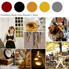 {Autumn Day}: A Palette of Cranberry, Black, Latte, Mustard + Gray ☛ http://su.pr/2Tqboy