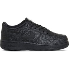 NIKE Air Force 1 lv8 leather trainers (125 SGD) ❤ liked on Polyvore featuring shoes, sneakers, black black croc, crocodile sneakers, crocodile shoes, black lace up shoes, nike shoes and black leather sneakers