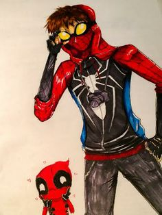 found this awesome redesign of Spiderman and had to draw it myself :) and Deadpool makes everything better :P