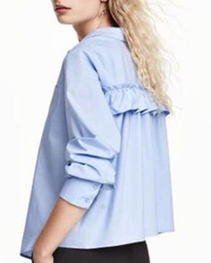 7396cce59a791f Fresh blue ruffle shirt for girls long sleeve Frill Shirt