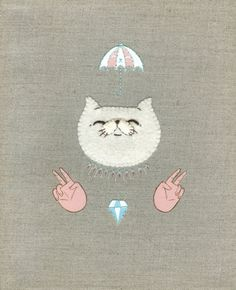 Ai Ai Gasa - Collaboration with The Seven Seas - Acrylic and Embroidery on Canvas