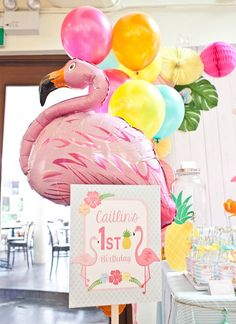 Flamingo balloon from Spring Flamingo Birthday Party at Kara's Party Ideas. See more at karaspartyideas.com!