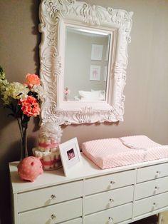 Elegant pink and gray nursery - love the vintage mirror!!