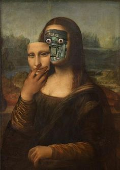 the secret behind the smile... - (mona lisa)(face)(robot)(painting)