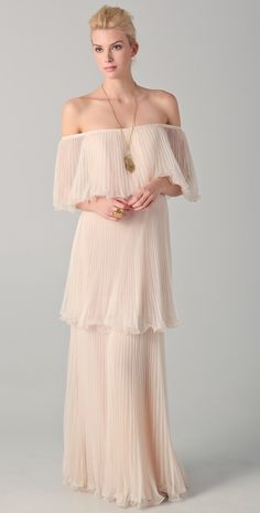 BCBGMAXAZRIA Bryn Tiered Pleated Dress