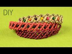 Striped Macrame Bracelets with Beads - Tutorial - YouTube