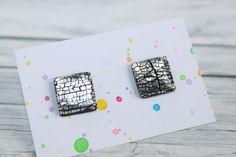 Black Stud Earrings, Black Silver, Etsy Seller, Creative, Design