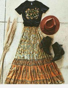 Boho Style Set Bohemian Fashion, Boho Chic Style, Maxi Hippie Rock, Gypsy Top und Boho Hut S Boho Outfits, Fashion Outfits, Womens Fashion, Hippie Chic Outfits, Bohemian Fall Outfits, Fashion Clothes, Fashion Ideas, Gypsy Style Outfits, Modest Fashion