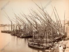 Nile, tourist boats at a landing, photograph by Zangaki, circa 1885,