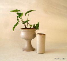 Vintage ceramic cylinder / tube vase  from Strehla by Cherryforest