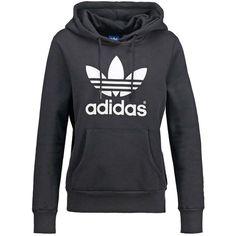 adidas Originals Hoodie black ($71) ❤ liked on Polyvore featuring tops, hoodies, adidas originals, hooded pullover, hooded sweatshirt, adidas originals hoodies and sweatshirt hoodies