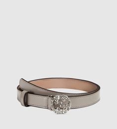 thin leather belt with crystal interlocking g buckle