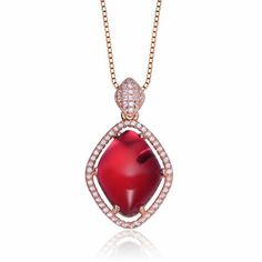 Women's Rose Sterling Silver Ruby Red CZ Halo Pendant Necklace  | eBay