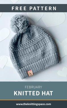Knit Hat Pattern Easy, Easy Knit Hat, Beanie Knitting Patterns Free, Beanie Pattern Free, Knitted Hats Kids, Free Knitting, Free Knitted Hat Patterns, Knitting Hats, Knit Hats