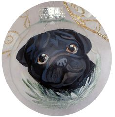 Black Pug Hand Painted Hand Painted Ornament