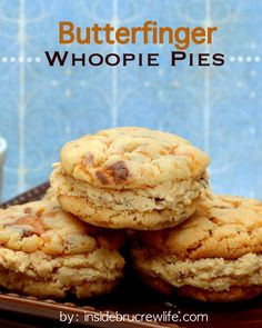 Butterfinger Whoopie Pies - two butterfingers cake cookies filled with butterfinger frosting...so good!