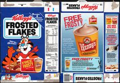 kelloggs cereal boxes | Kellogg's Frosted Flakes cereal box - Free Wendy's Frosty Offer - 1989 ...