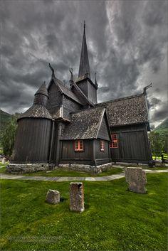 Stavkirke in Lom, Norge