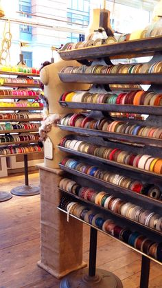 VV Rouleaux is a ribbon and millinery lovers dream come true. The storefront window entices the eye like a candy shop.
