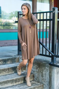 """""""Wine And Dine Dress, Brown""""This dress is the perfect staple piece for fall! The long-sleeve dress is right on trend and oh-so easy to wear. The jersey knit fabric is soft and we know you love that it has pockets! #shopthemint #newarrivals"""