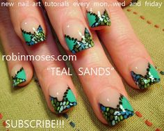 teal sands by robinmoses - Nail Art Gallery nailartgallery.nailsmag.com by Nails Magazine www.nailsmag.com #nailart