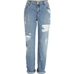 trend report fall 2013 - River Island Light wash ripped Cassie boyfriend jeans by None, via Polyvore