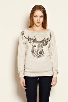Stag Print Sweater-Warehouse