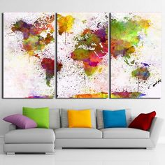 Colorful Abstract Art World Map Framed 3 Piece Canvas Wall Art Painting Wallpaper Poster Picture Print Photo Decor - XLarge / framed