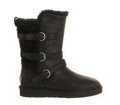 UGG Australia Becket Buckle Boot Black Leather - Ankle Boots