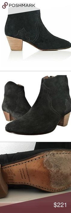 "Isabel Marant Rare Dickie Ankle Booties Ankle-high suede boots in 'faded black' featuring green tinge throughout. Round toe. Western-style panelling at vamp and outer side. Concealed zip closure at inner side. Stacked cuban heel in brown. Leather sole in beige. Tonal stitching. Approx. 2"" heel. Upper: leather. Sole: leather. Made in France. Isabel Marant Shoes Ankle Boots & Booties"
