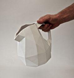 paper cast ceramics   folded porcelain pitcher#design