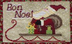 From gazette94 - Cross Stitch pattern - Santa on sleigh Bon Noel