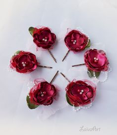 Wedding Hair Pin Fabric Flower Bridal Accessories Red  Burgundy Set of 6 - pinned by pin4etsy.com
