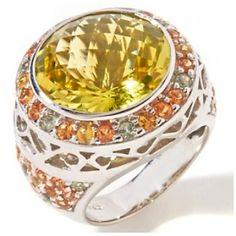 Sima K Silver rhodium ring with apple quartz & multi sapphires. by www.simakboutique.com