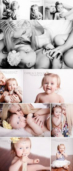 Sweet mom and daughter photos. Fur and pearls.