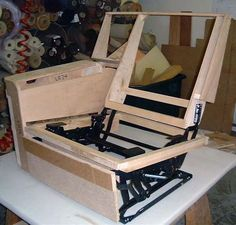 Complicated frame design for a chair recliner mechanism.