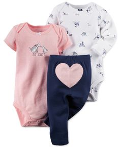 Carter's Baby Girls' 3-Piece So Cute Bodysuits & Pants Set