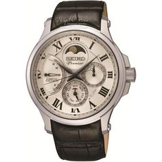 79e8e5e8cee Seiko Men s Premier Kinetic Direct Drive Moonphase Leather Strap Watch -  SRX007P1 - £750 -