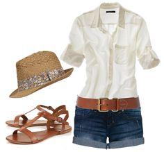white shirt, jean shorts, brown belt, flat sandals