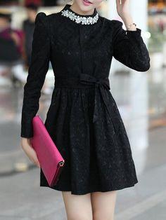 Vintage Black Dress with Bead Turtle Neck - Choies.com