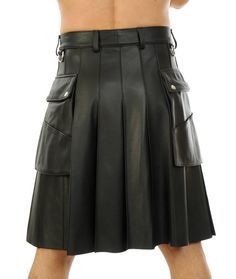 Leather Kilt, Leather Men, Modern Kilts, Fashion Essay, High Fashion Men, Fashion Black, Men Wearing Skirts, Utility Kilt, Man Skirt