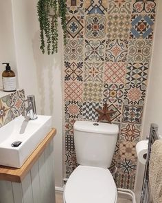 Toilet room update - still not finished. Its so close but I couldn't wait to show it! Small Downstairs Toilet, Small Toilet Room, Moroccan Tile Bathroom, Mosaic Bathroom, Toilet Tiles Design, Lavabo Vintage, Toilet Room Decor, Bathroom Under Stairs, Bathroom Design Small