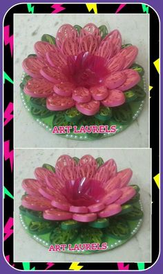 3d lotus shaped quilled candle holder!
