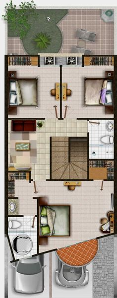 Planta Alta 155 m Guest House Plans, Small House Floor Plans, Duplex House Plans, Dream House Plans, Home Design Plans, Home Interior Design, Home Sweet Hell, Townhouse Designs, Floor Plan Layout