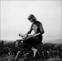 Sylvia Plath and typewriter in Yorkshire, England, 1956.